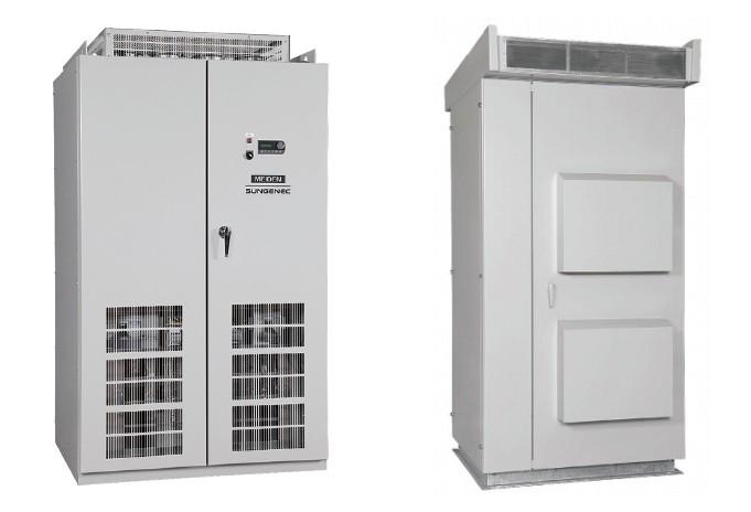 パワーコンディショナ「SP310」(左:屋内用 右:屋外用)