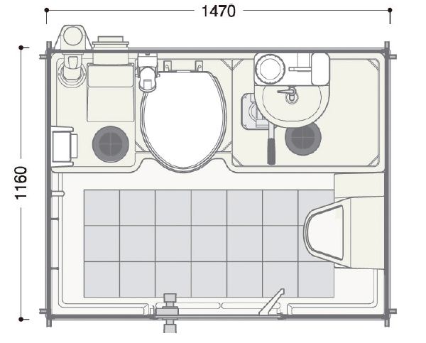車載トイレ平面図