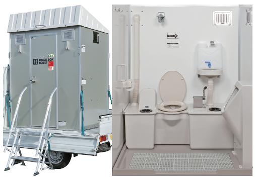 車載トイレ外観(天井伸長時)と内装