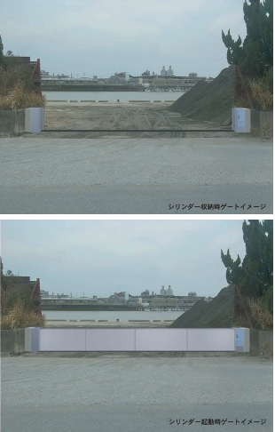 垂直起立式可動ゲート(上:収納時、下:起動時)