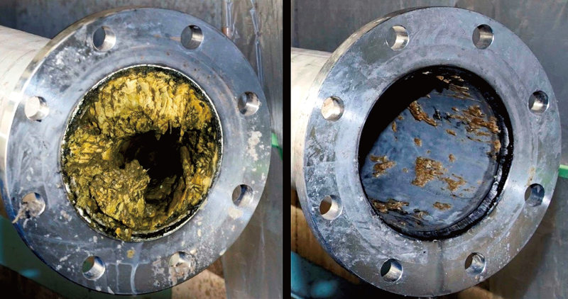 濃縮汚泥配管の洗浄例