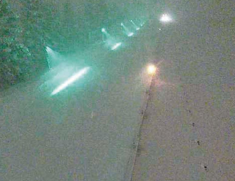 帯状ガイドライトの照射状況