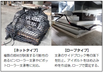 支承部品落下防止対策用ネット、ロープ 製品写真