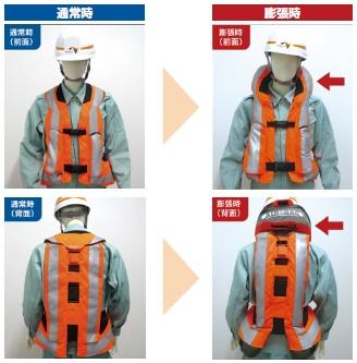 エアバッグ 通常時 膨張時安全チョッキ