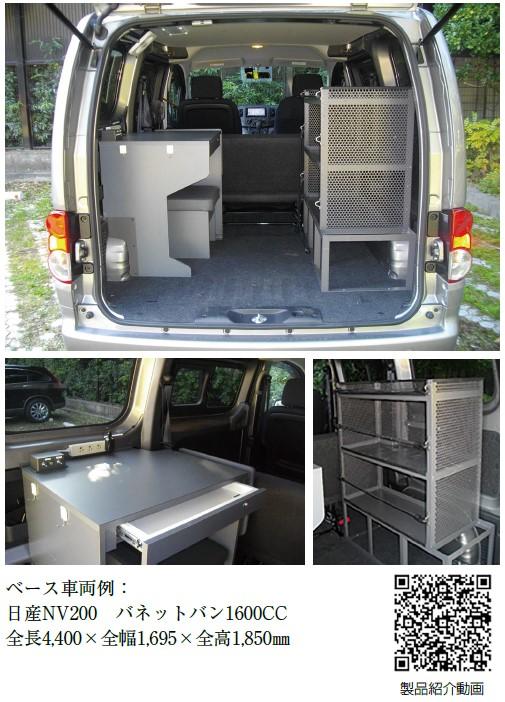 デスクカーのベース車両例(日産NV200 バネットバン1600CC)