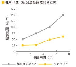 大気暴露における耐食性