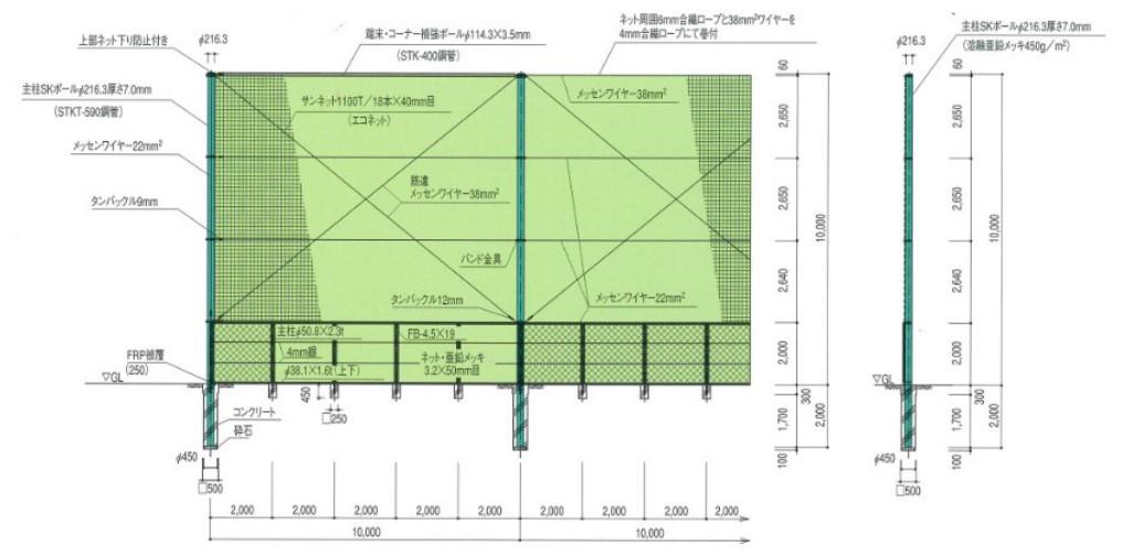 標準断面図(防球ネットSK-2型 H=10,000)