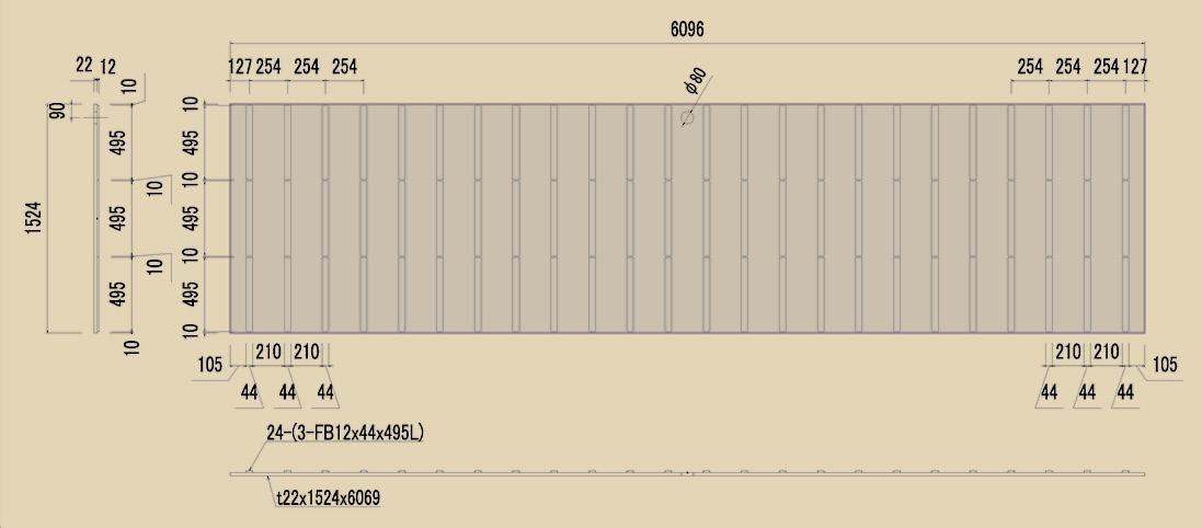 フラットバー付敷鉄板の製品寸法詳細図