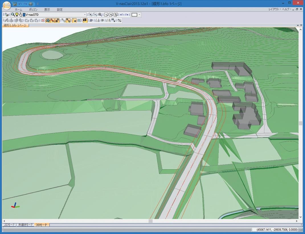 中心線、幅員線(縦断線形、横断勾配、拡幅考慮)を3Dライン表示で確認