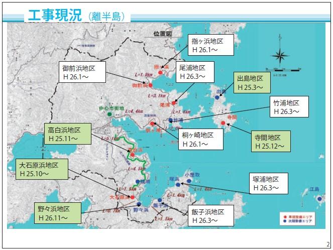第9回復興まちづくり説明会資料から抜粋。離半島部も平成26年度内にはすべての地区の造成工事に着手する