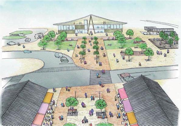 JR女川駅と駅前プロムナードのイメージ図(デザイン会議資料から)。駅舎は、被災前、駅舎に隣接していた温泉温浴施設との合築とした