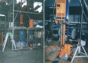 写真-7 実物大動的貫入試験を用いた土槽実験