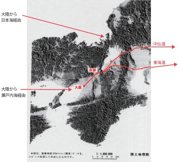 図-1  ユーラシア大陸からの情報ルート 古代〜近世