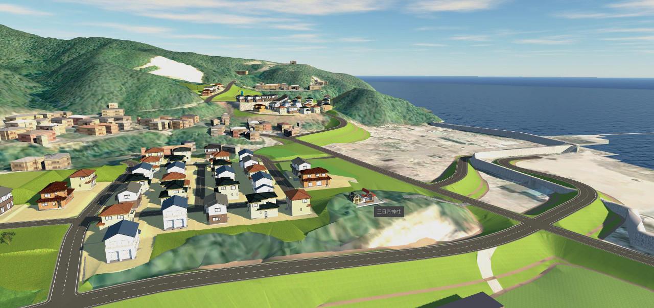 Infraworksで3D化された大槌町の復興イメージ