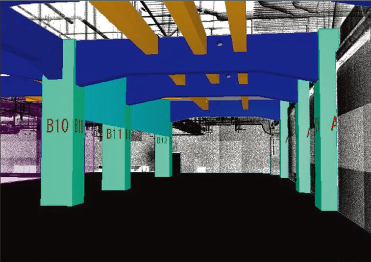 図-4 点群データから柱と梁を3次元モデリング