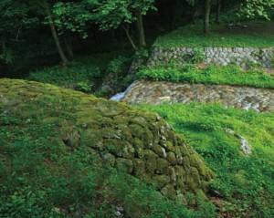 苔生した石積みの堰堤