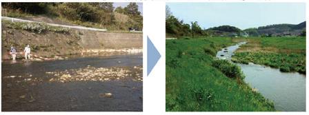 図-2 多自然川づくりの例(佐賀県多久市の牛津川)