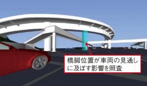 図-5 交差点内の橋脚位置および視認性の検討