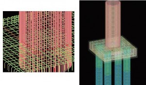 図-7 橋脚・杭の配筋とフーチング配筋との干渉照査