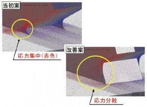 図-4 隅角部の応力の当初案と改善案の比較
