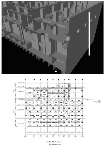 図-1 複雑な躯体レベルの3次元モデル