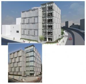 図-1 新宿労働総合庁舎(BIMモデルと完成写真)