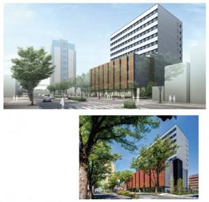 図-2 前橋地方合同庁舎(BIMモデルと完成写真)