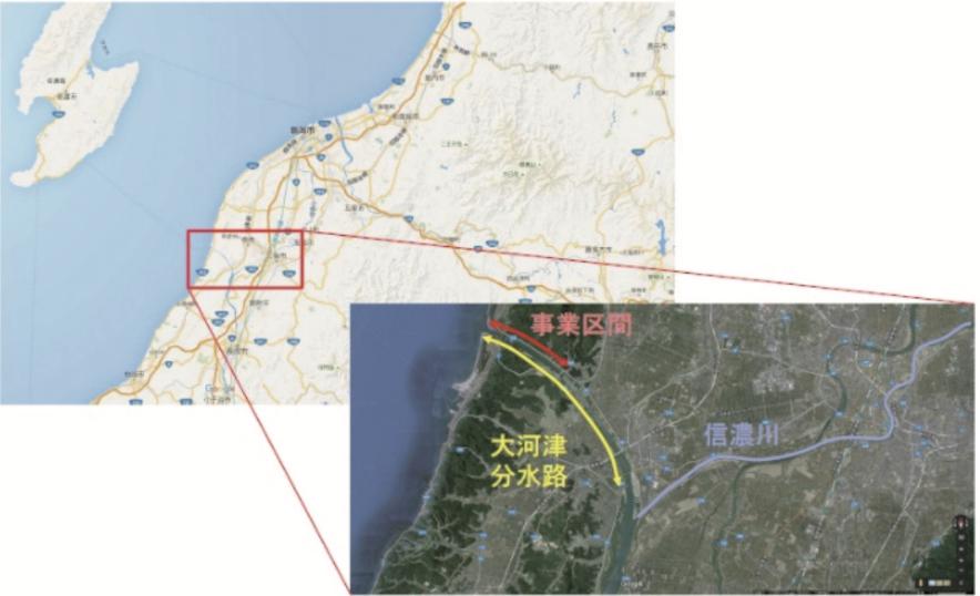 大河津分水路改修事業 位置図