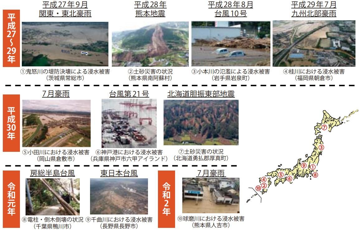 近年の自然災害の発生状況