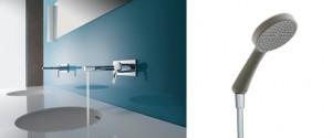 AVA(アヴァ)シリーズ 洗面用壁付水栓とBOSSANOVA(ボサノヴァ)ハンドシャワーヘッド