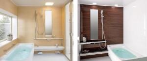 戸建向けシステムバスルーム『サザナ』とマンションリモデルバスルーム『ひろがるWFほっカラリ床シリーズ』