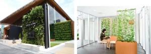 壁面緑化システム「bio-Wall」、緑化パーテーションプランター「leaflax」