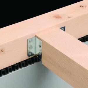 枠組壁工法において床暖房装置の設置に最適な大引き受金物『床暖対応大引き受金物』
