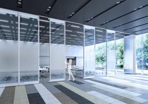 岡村製作所が高遮音ガラス移動間仕切『Gravis』を発売