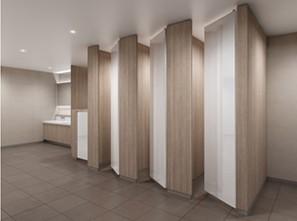 アイカ工業が天井まで1枚の壁のような扉デザインを可能にした「アイカトイレブース ピュアコアブース/メラスクープブース」を発売