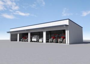 横河システム建築が大型機械も収納できるシステム建築「メタルガレージ」を発売