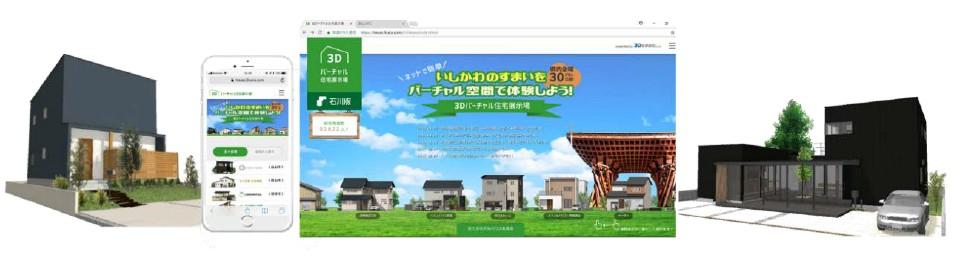 インターネット上で3D仮想モデルハウスを見学できる新しい住宅広告サービス『3Dバーチャル住宅展示場(石川版)』