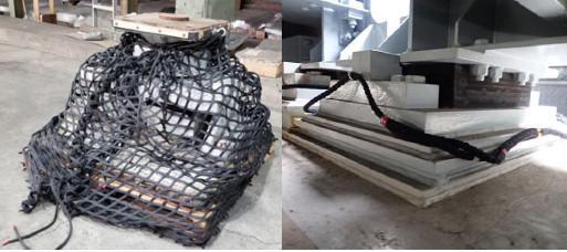 支承部品落下防止対策用ネット、ロープ
